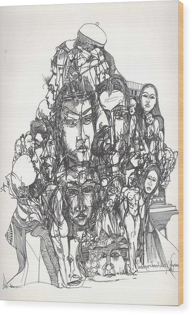 Joined Up Into One Wood Print by Padamvir Singh