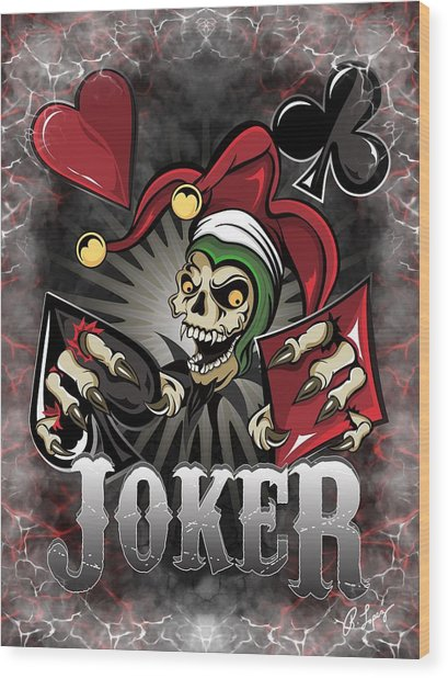 Joker Poker Skull Wood Print