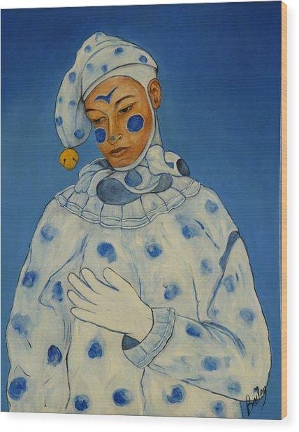 Jokester In Blue Wood Print