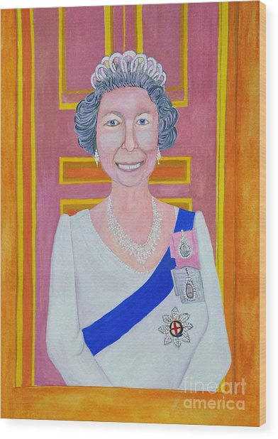 Jolly Good Your Majesty Wood Print