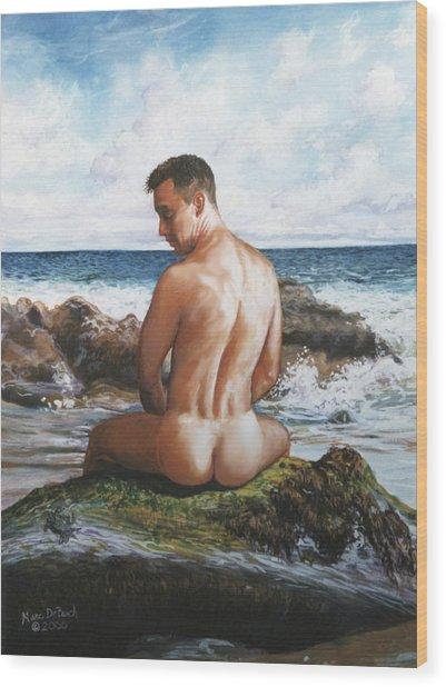 Jon At The Beach  Wood Print