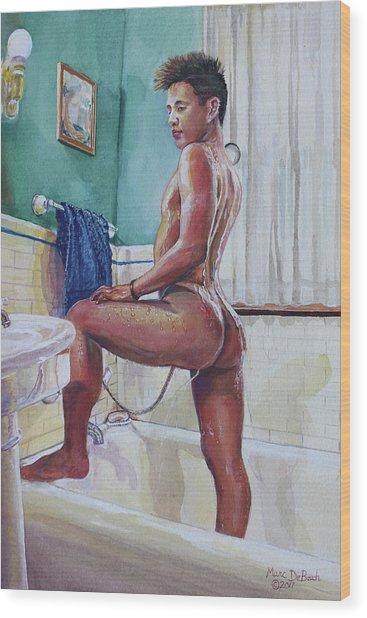 Jon In The Bathtub Wood Print