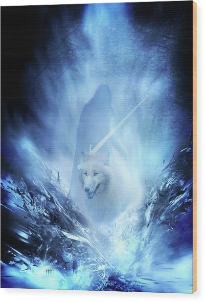 Jon Snow And Ghost - Game Of Thrones Wood Print