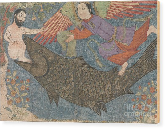 Jonah And The Whale Wood Print