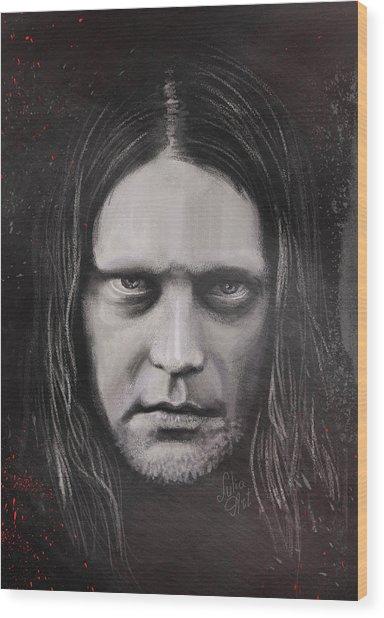 Wood Print featuring the drawing Jonas P Renkse Musician From Katatonia Band By Julia Art by Julia Art
