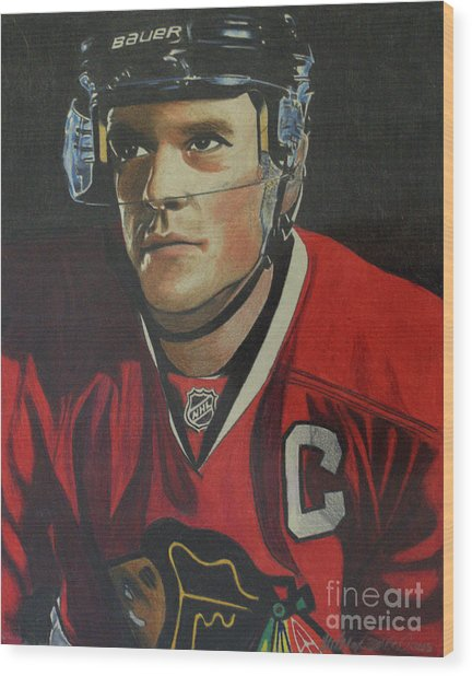 Jonathan Toews Portrait Wood Print