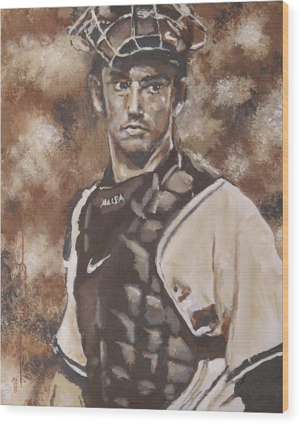 Jorge Posada New York Yankees Wood Print