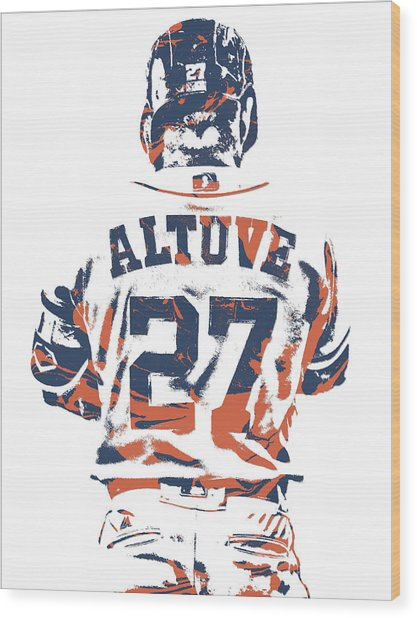 Jose Altuve Houston Astros Pixel Art 10 Wood Print