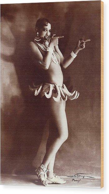 Josephine Baker Lucien Walery   Banana Skirt From The Folies Bergere Production Un Vent De Folie Wood Print