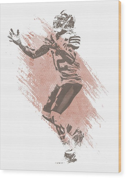 Josh Gordon Cleveland Browns Water Color Art 2 Wood Print