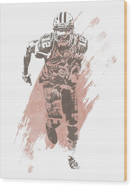 Josh Gordon Cleveland Browns Water Color Art 3 Wood Print