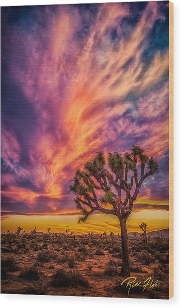 Joshua Tree In The Glowing Swirls Wood Print