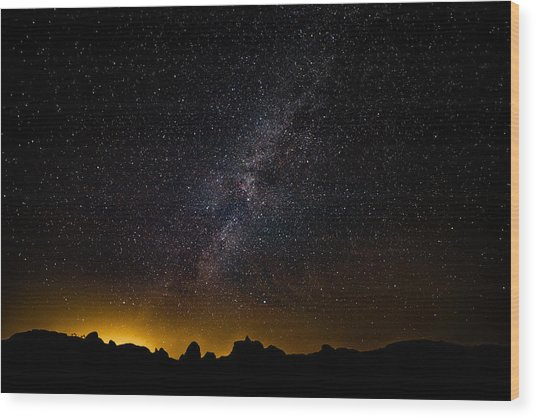 Joshua Tree's Fiery Sky Wood Print