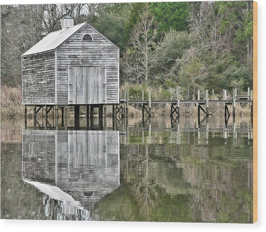 Jourdan River Boathouse Wood Print