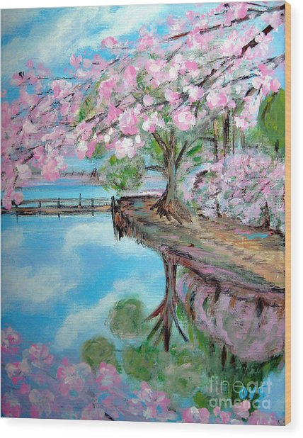 Joy Of Spring. Acrylic Painting For Sale Wood Print