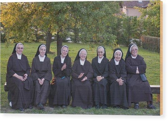 Joyful Nuns Wood Print by Don Wolf