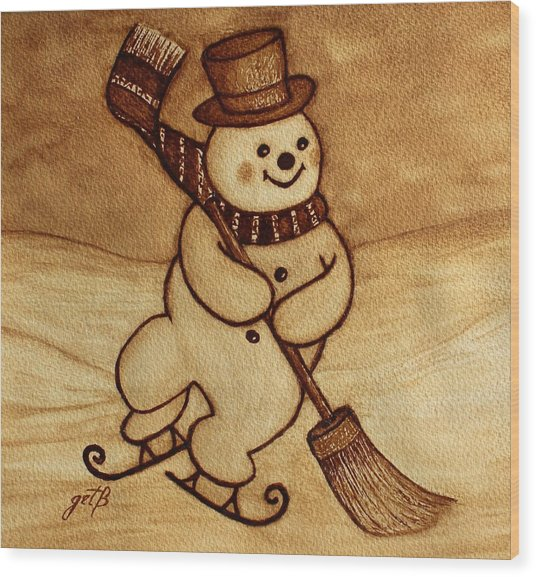 Joyful Snowman  Coffee Paintings Wood Print