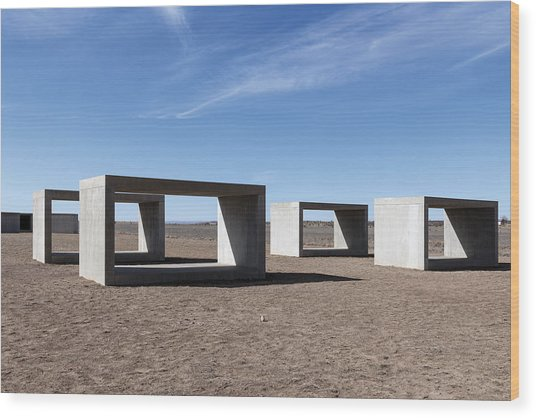 Judd's Cubes By Donald Judd In Marfa Wood Print