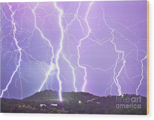Judgement Day Lightning Wood Print