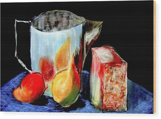 Jug With Fruit Wood Print