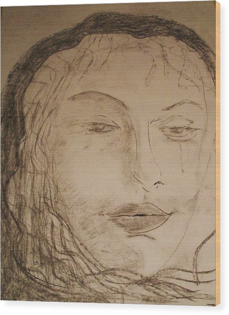 Julia Weeps Wood Print by J Bauer