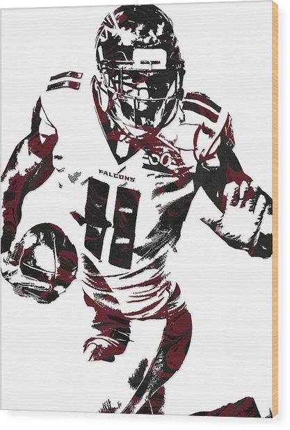 Julio Jones Atlanta Falcons Pixel Art 4 Wood Print