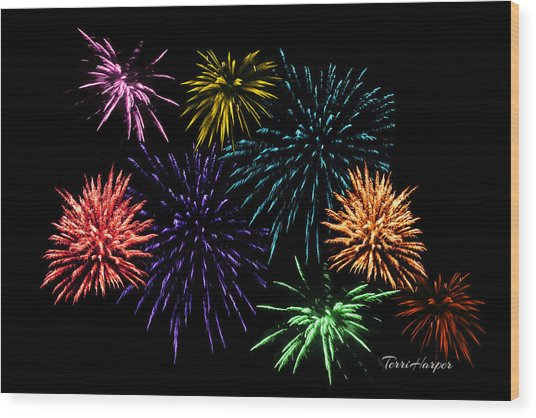 July Fireworks Montage Wood Print