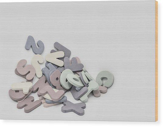 Jumbled Letters Wood Print