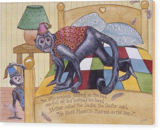 Jumpin Monkeys Wood Print by Victoria Heryet