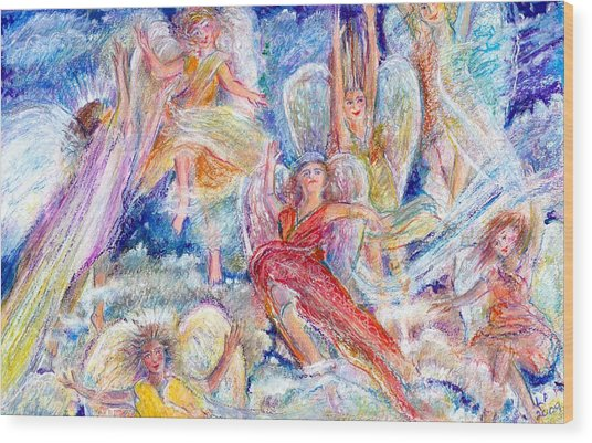 Jumping For Joy Angels Wood Print by Laurie Parker