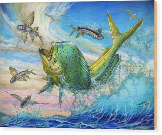 Jumping Mahi Mahi And Flyingfish Wood Print