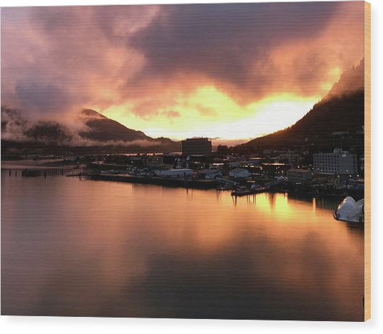 Juneau Sunset Wood Print