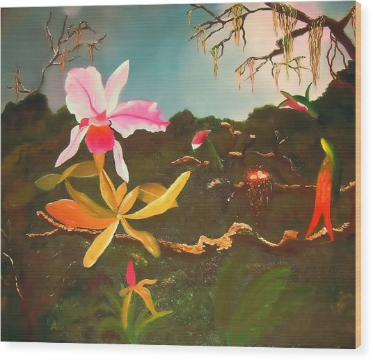 Jungle Orchid Wood Print by Alanna Hug-McAnnally
