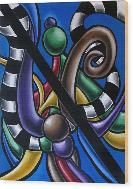 Colorful 3d Abstract Art Painting - Multicolored Original Artwork - Black And White Stripes Wood Print