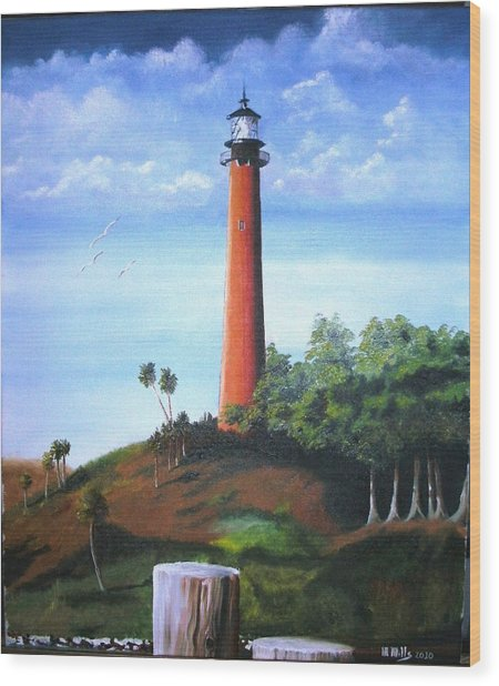 Jupiter Lighthouse And Pilings Wood Print
