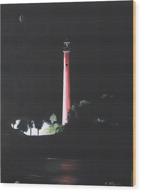 Jupiter Lighthouse At Night Wood Print