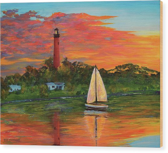 Jupiter Lighthouse Sunrise Alt Wood Print