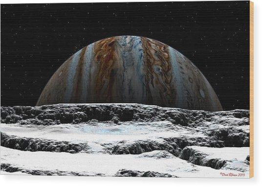 Jupiter Rise At Europa Wood Print