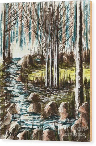 Just Around The Riverbend  Wood Print