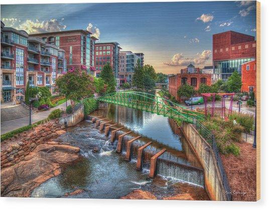 Just Before Sunset 2 Reedy River Falls Park Greenville South Carolina Art Wood Print