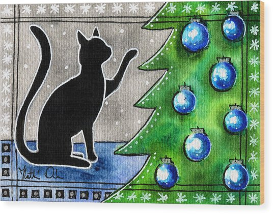 Just Counting Balls - Christmas Cat Wood Print