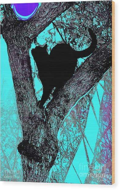 Fauve Cat And Moon Wood Print