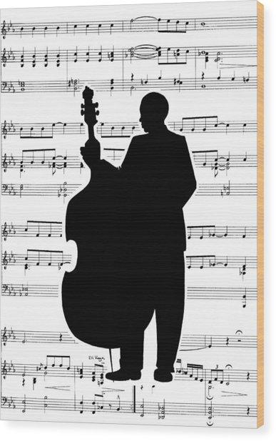 Just Jazz - Double Bass Wood Print by Di Kaye