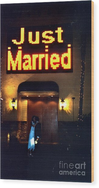 Just Married Wood Print by Andrea Simon