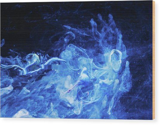 Just Passing By - Blue Art Photography Wood Print
