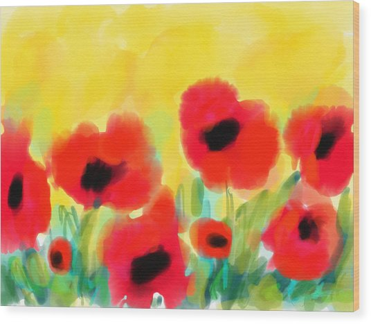 Just Poppies Wood Print
