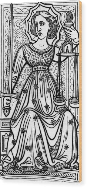 Justice Tarot Card Wood Print