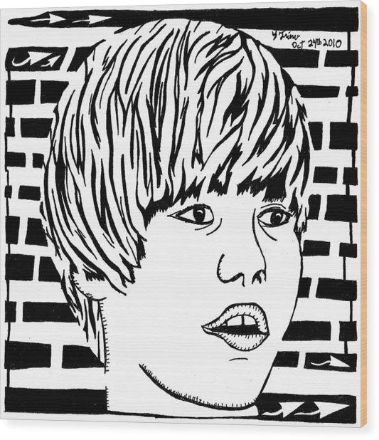 Justin Bieber Maze Portrait Wood Print by Yonatan Frimer Maze Artist