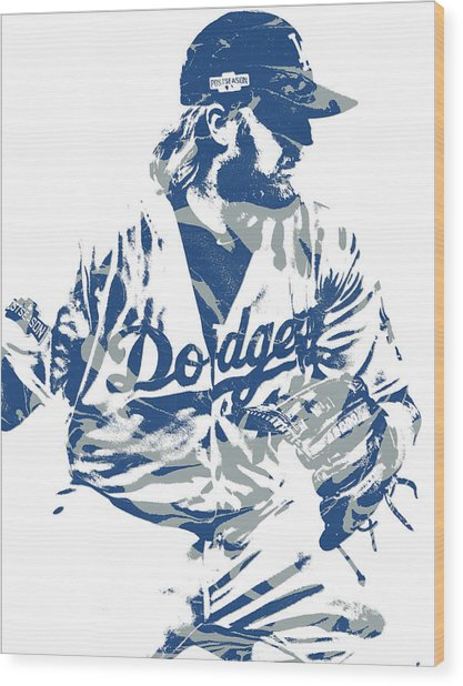 Justin Turner Los Angeles Dodgers Pixel Art 15 Wood Print