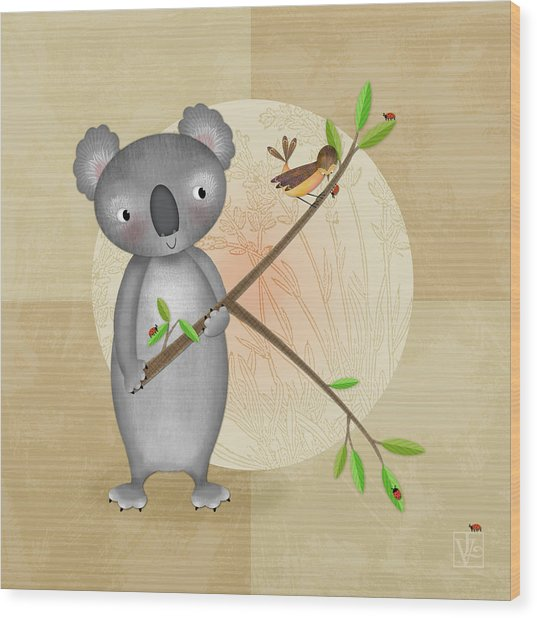 K Is For Koala Wood Print